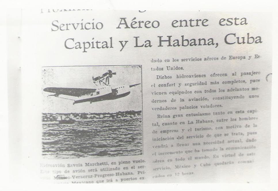 3. Servicio aéreo entre Mérida y La Habana Cuba, 1931